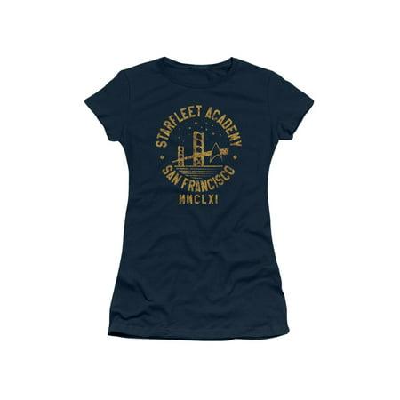 Star Trek Starfleet Academy With Golden Gate Bridge Juniors Sheer T-Shirt