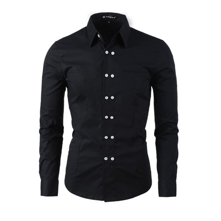 Men's Button Down Double Breasted Mock Chest Pockets Long Sleeves Shirt