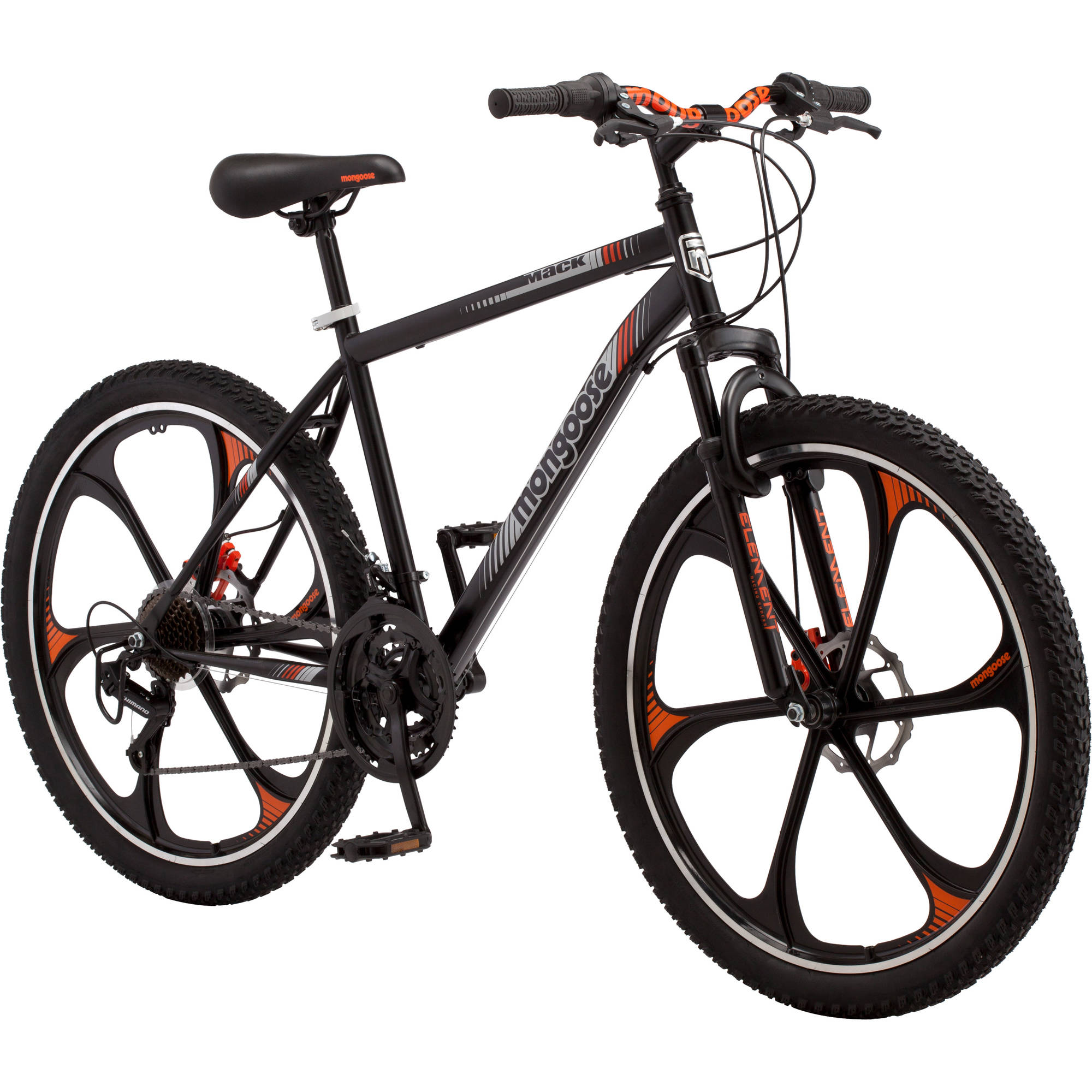 "Click here to buy 26"" Men's Mongoose Mack Mag Wheel Bike, Black and Orange by Pacific Cycle."