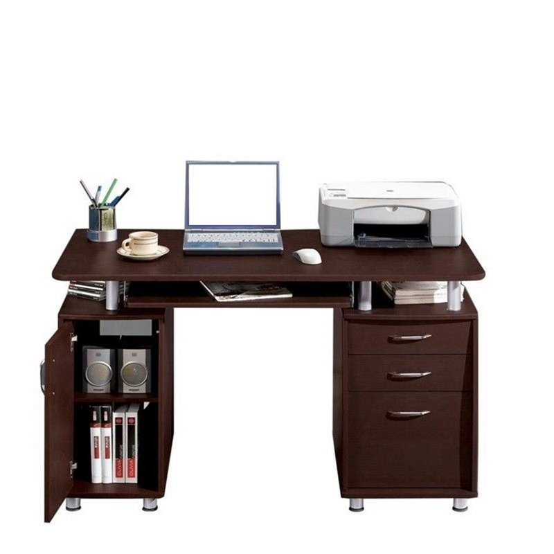 Pemberly Row Super Storage Computer Desk in Chocolate Finish - image 7 de 8