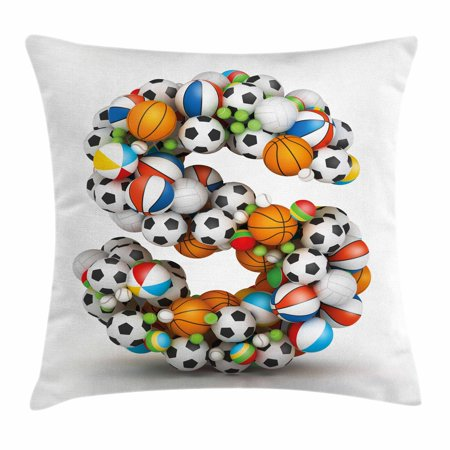 Letter S Throw Pillow Cushion Cover Boys Kids Sports Design Match Delectable Children's Decorative Pillows
