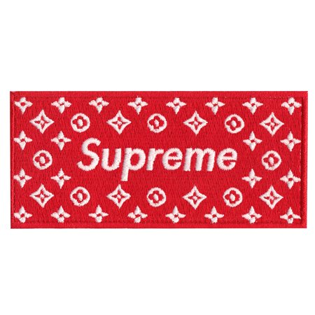 Red Supreme LV Box Logo Iron On Applique Patch