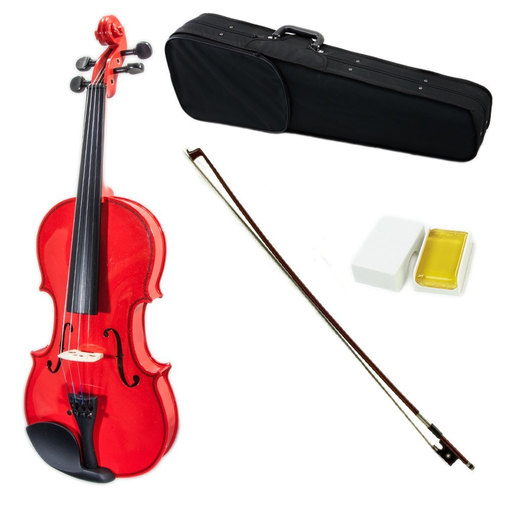 SKY Full Size VN202 Solidwood Red Violin Beautiful Purfling with Brazilwood Bow and Lightweight Case