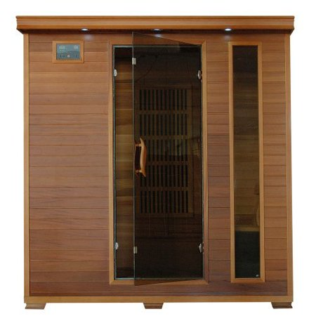 4 Person Sauna FAR Infrared Red Cedar Wood 9 Carbon Heaters CD Player MP3 Color Light Therapy - Heat Wave Klondike Cedar Barrel Sauna