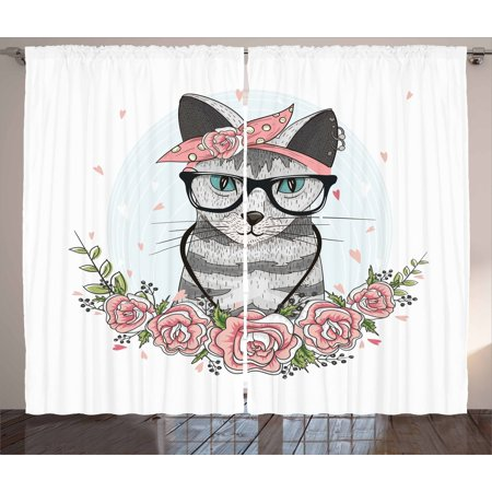 Kitten Curtains 2 Panels Set, Hipster Cool Cat with Spectacles Scarf Necklace Earrings and Flowers Little Hearts, Window Drapes for Living Room Bedroom, 108W X 90L Inches, Multicolor, by (Raymond Spectacles)