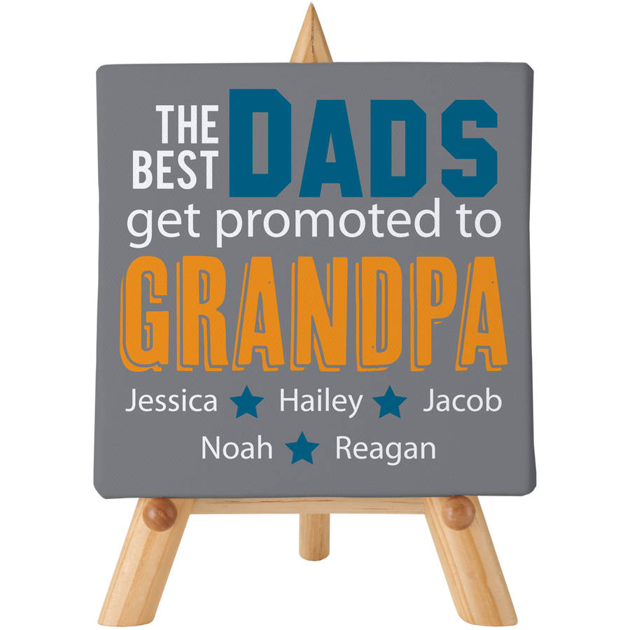 Personalized The Best Dads Get Promoted Canvas 5x5 with Easel