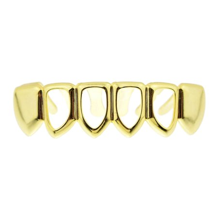 Gold Teeth Grills (14k Gold Plated Grillz 4 Four Open Face Teeth Bottom Row Lower Hip Hop Rapper)