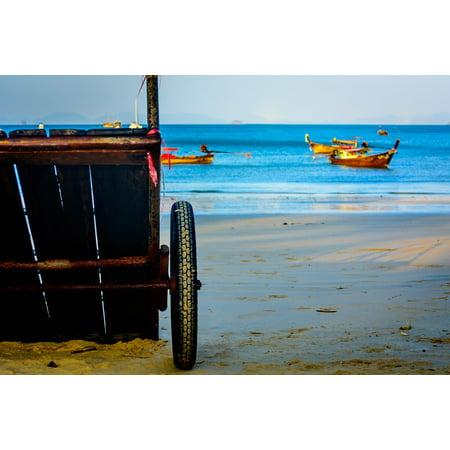 Framed Art For Your Wall Cart G0lden Yellow Beach Ocean Wheel Sand Blue 10x13 Frame - Yellow Sand Beach