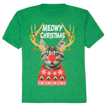 Boys' Fashion Cat Reindeer Meowy Christmas Graphic T-Shirt