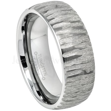 Tree Bark Carved Texture Tungsten Ring, Mens Tungsten Wedding Band