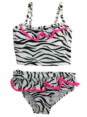 Infant & Toddler Girls Black Zebra Print 2 Pc Tankini Swimming & Bathing Suit