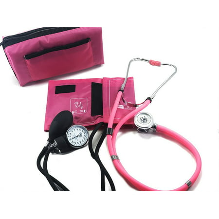 EMI ALL PINK SET Sprague Rappaport Stethoscope and Aneroid Sphygmomanometer Blood Pressure Set Kit - #330
