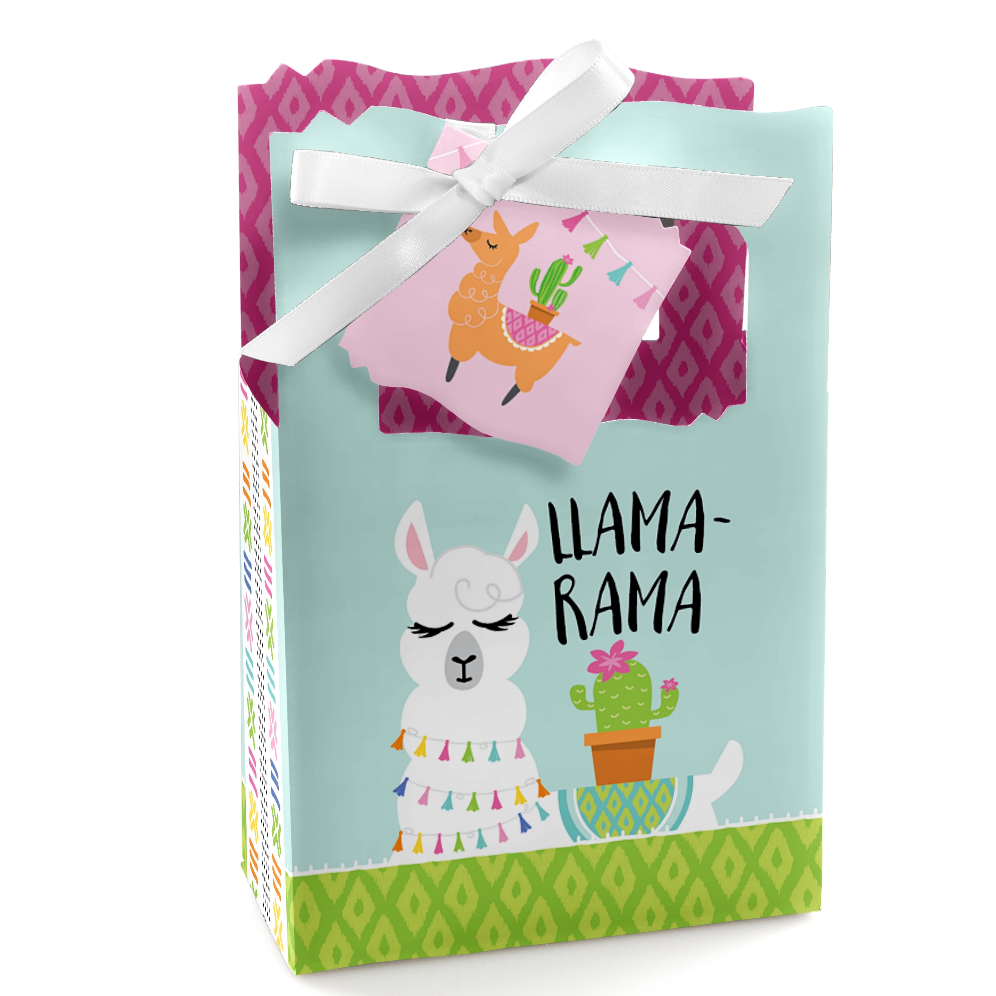 Whole Llama Fun - Llama Fiesta Baby Shower or Birthday Party Favor Boxes - Set of 12