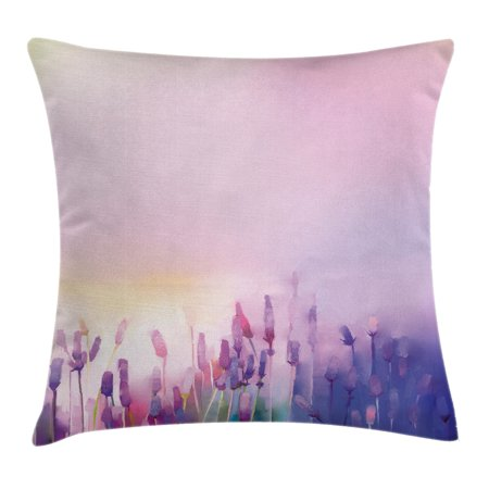 Watercolor Flower Home Decor Throw Pillow Cushion Cover, Blurred Lavenders in the Meadows Rural Country Nature Theme, Decorative Square Accent Pillow Case, 16 X 16 Inches, Lilac Purple, by Ambesonne (Country Home Accents)