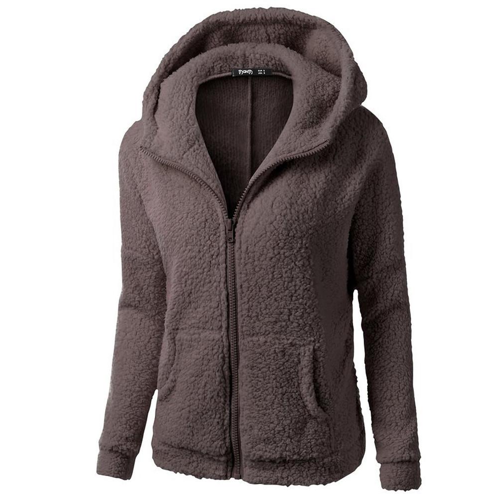 Women Girls Winter Warm Hooded Sweater Coat Wool Zipper Cotton Coat Outwear by