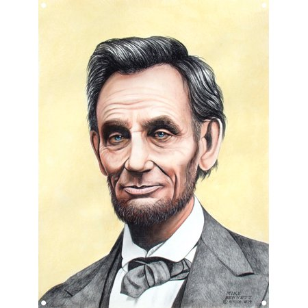 Lincoln #14 - with beard Metal Art Print by Mike Bennett (9