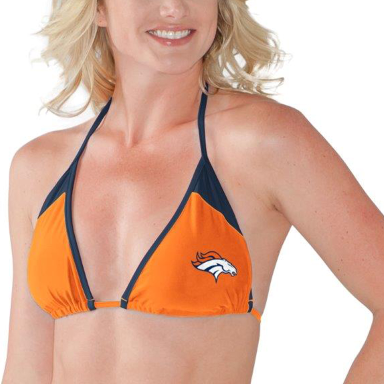 Denver Broncos G-III 4Her by Carl Banks Women's Outfielder Triangle String Bikini Top - Orange/Navy