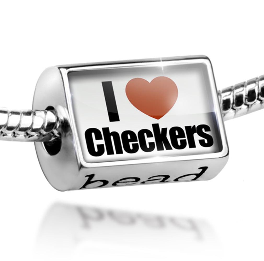 Bead I Love Checkers Charm Fits All European Bracelets