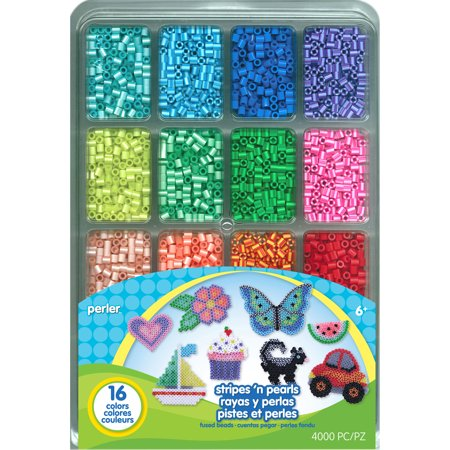 Perler Fused Bead Tray 4000-Pack, Stripes 'N Pearls - Halloween Perler Beads