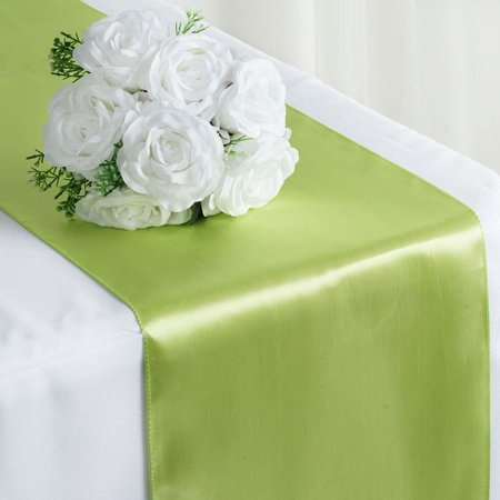 Satin Table Runner Wedding Party Banquet Apple Green 12 x - Table Runner Green