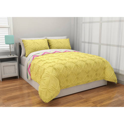 Latitude Pintuck Comforter Set Reverse to Chevron Complete Bedding Set, Yellow