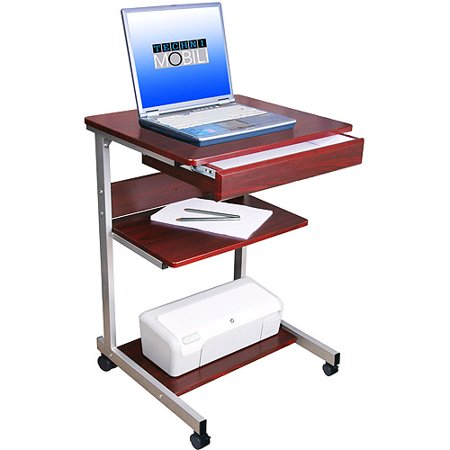 Tech office rolling laptop cart mahogany - Computer cart walmart ...