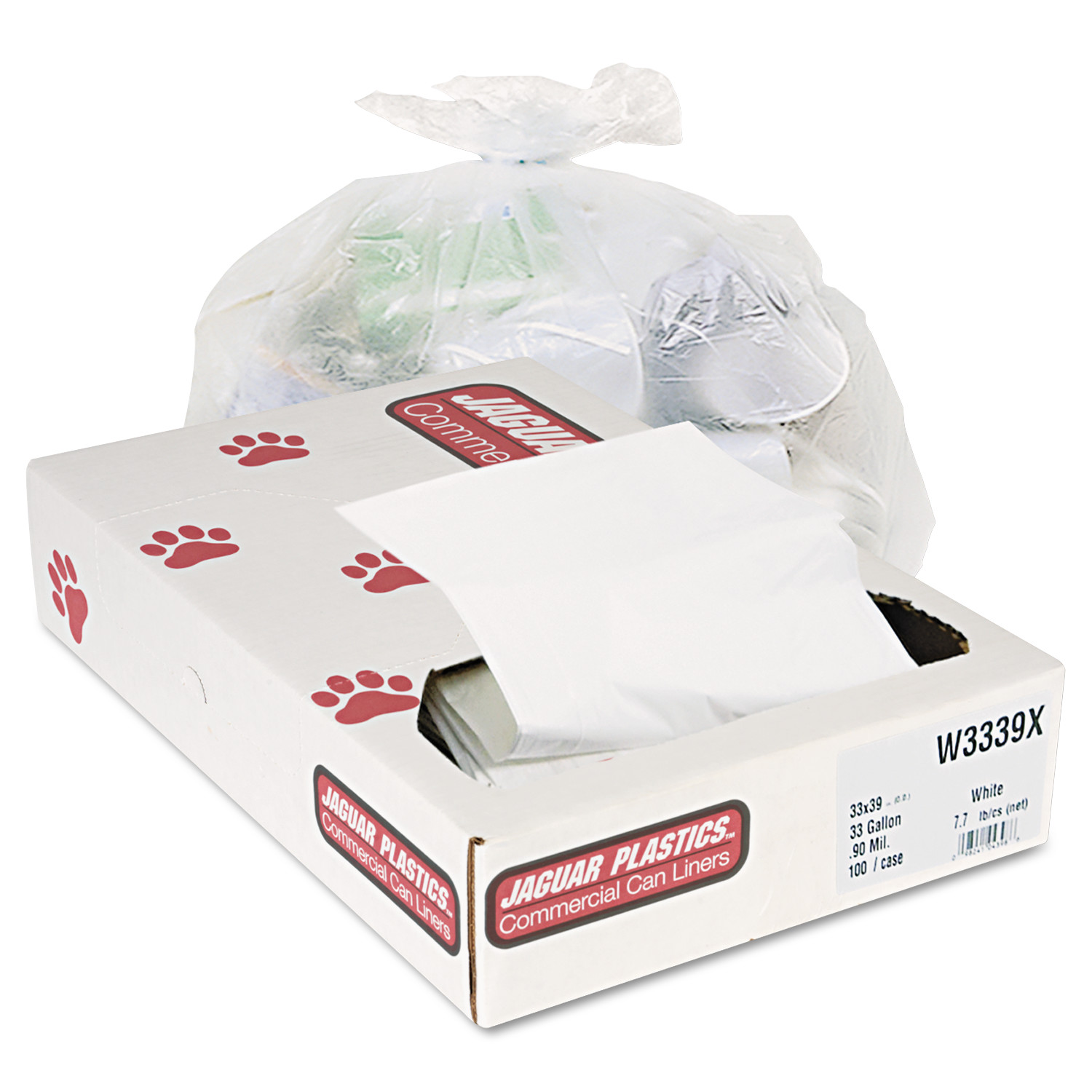 Jaguar Plastics Industrial Strength Commercial Trash Bags, 33gal, .9mil, White, 100/Carton