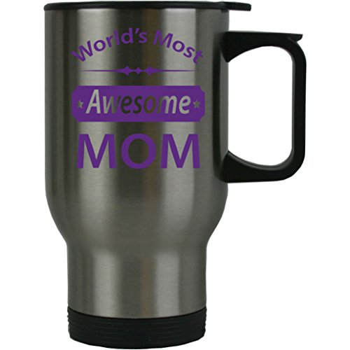 World's Most Awesome MOM 14 oz Stainless Steel Travel Coffee Mug with Push-Down Lid (Purple)
