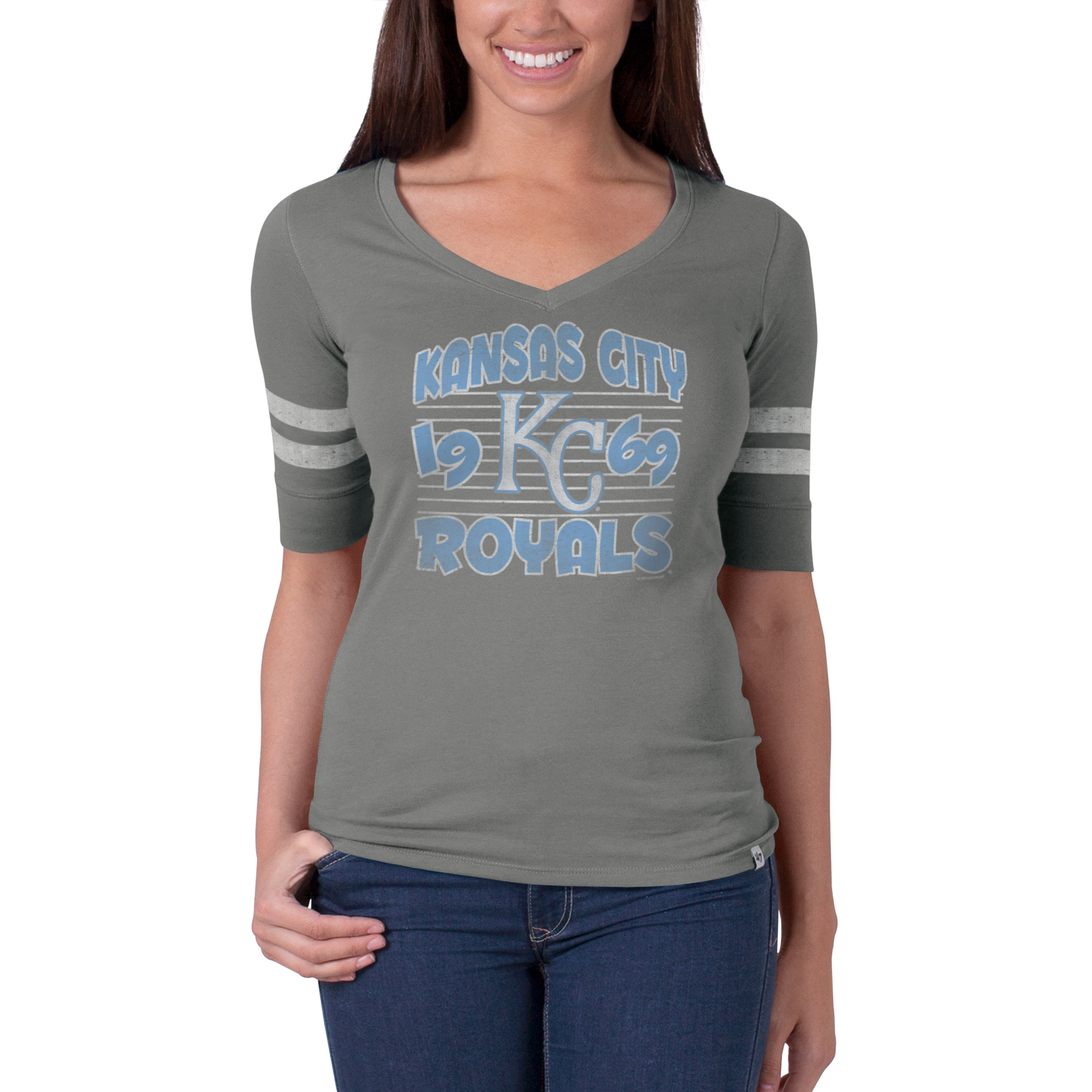 Women's Kansas City Royals '47 Flanker Striped Half-Sleeve Tee - Gray