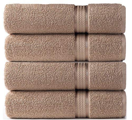 Beauty Threadz 4 Pack Linen Color - Ultra Soft Oversized Extra Large Bath Towels 30x54 - 100% Pure Ringspun Cotton - Luxurious Rayon Trim - Ideal for Daily Use - Each Towel Weighs 22 Ounces