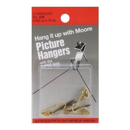 Bulk Buy 12-Pack Moore Push Pin Self Adhesive Pic Sure Stays Picture Hangers 12//Pkg PS72