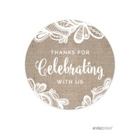 Thank You For Celebrating With Us  Burlap Lace Wedding Round Circle Gift Tags, 24-Pack