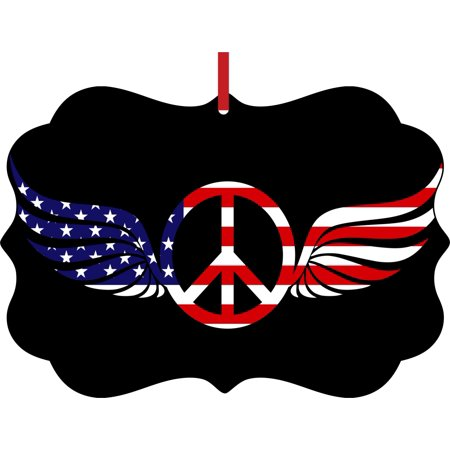 - Flag US Patriotic American Angel Wings Peace Symbol Elegant Semigloss Aluminum Christmas Ornament Tree Decoration - Unique Modern Novelty Tree Décor Favors