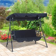 Outsunny 3 Person Steel Canopy Porch Swing - Black