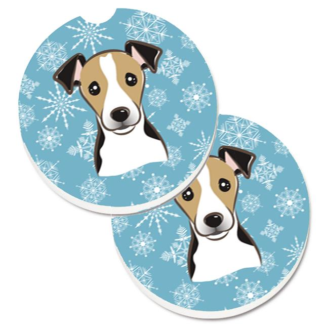 Snowflake Jack Russell Terrier Set of 2 Cup Holder Car Coaster - image 1 de 1