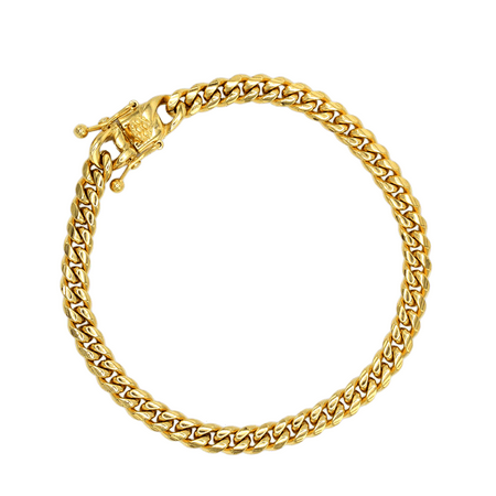 Cuban Link Chain Bracelet, 6mm 18k Gold Plated Stainless Steel, Fashion Jewelry