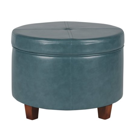 HomePop Large Leatherette Storage Ottoman, Multiple Colors