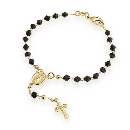 Black Crystal Bead Mother Virgin Mary Crucifix Rosary Prayer Religious 18K Gold Plated Brass Bracelet For Women 7 Inch - image 5 of 5
