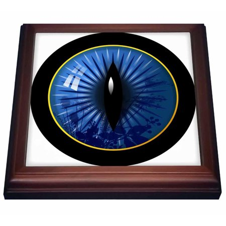 - 3dRose Sapphire colored cats eye with plant form reflections, Trivet with Ceramic Tile, 8 by 8-inch