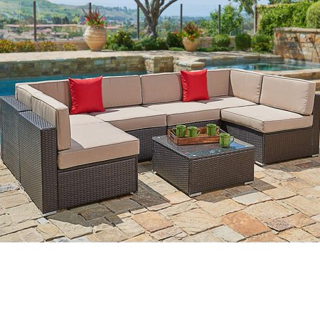 SUNCROWN Outdoor Sectional Sofa (7-Piece Set) Wicker Furniture w/Brown  Washable Seat Cushions & Modern Glass Coffee Table | Patio, Backyard, Pool  & ...