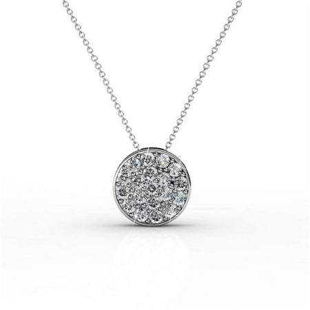 "Cate & Chloe Nelly ""Valor"" White Gold Plated Pave Stone Necklace w/Swarovski Crystals, Modern Trendy Beautiful Round Cut Diamond Cluster Necklace, Wedding Statement Necklaces (Silver) - MSRP $145"