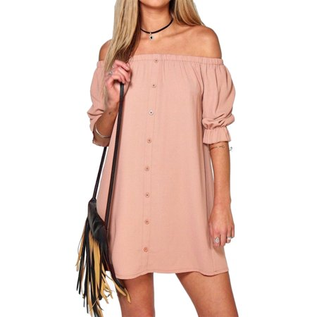 StylesILove Women 3/4 Sleeve Off Shoulder Casual Loose Mini Dress (Small, Pink) (Green 1920s Style Dress)