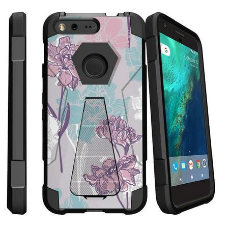 Google Pixel XL , Pixel XL Cover Shock Fusion Heavy Duty Dual Layer Kickstand Case -  Serene Pastel Flower