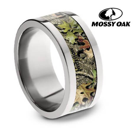 Authentic Mossy Oak Obsession Camo Ring, Titanium Wedding Band