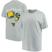 West Virginia Mountaineers Lauren James Women's Classic Team Oversized Pocket T-Shirt - Heathered Gray
