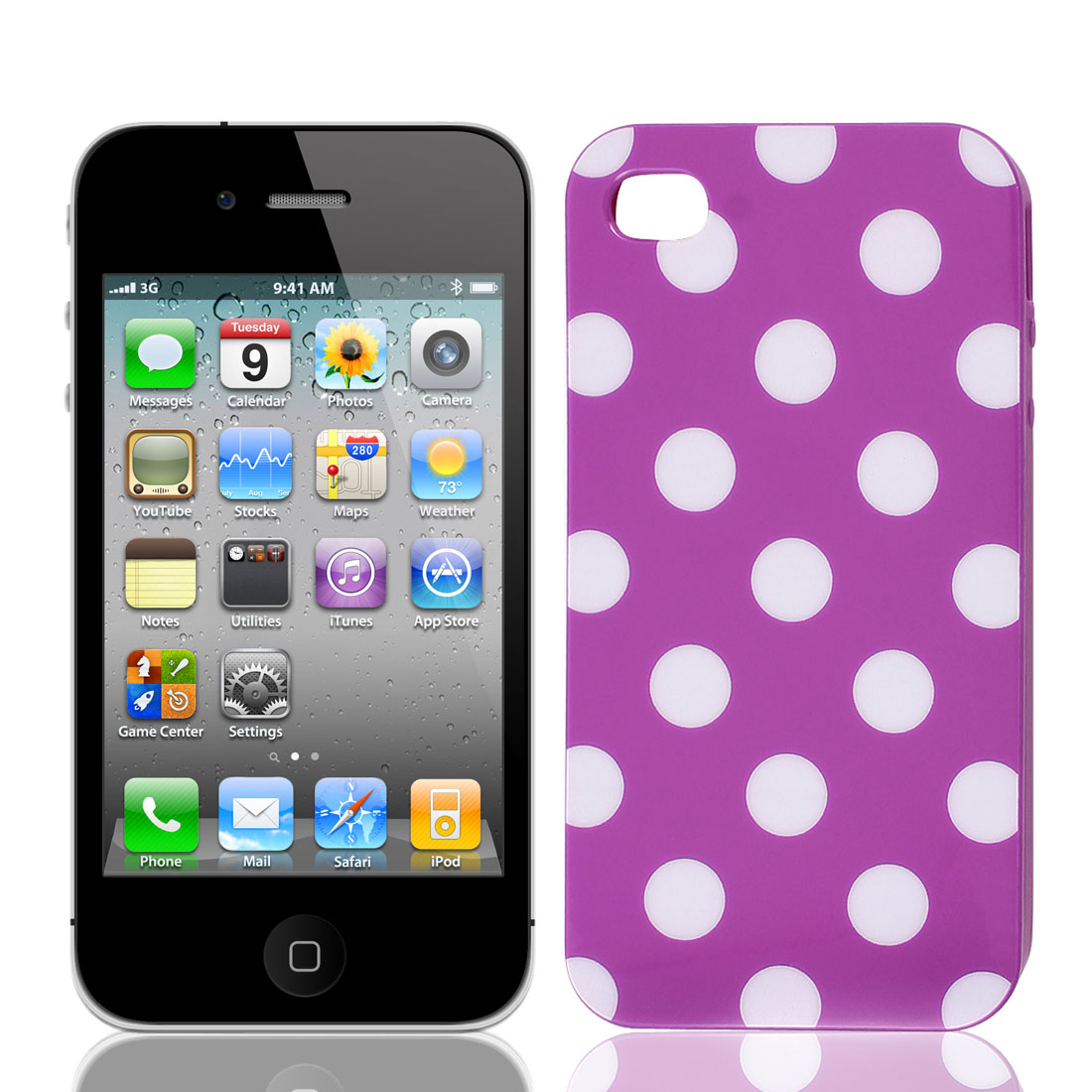 Unique Bargains White Polka Dots Purple IMD Hard Case Shell for iPhone 4 4GS