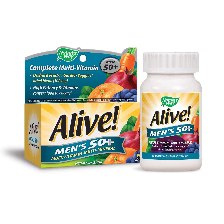 Nature's Way Alive!® Men's 50+ Energy Multivitamin Tablets, Fruit and Veggie Blend (100mg per serving), 50 Tablets