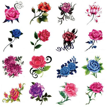 Hot Selling Men And Women Temporary Tattoos Waterproof Stickers Rose - Sticker Tatoos