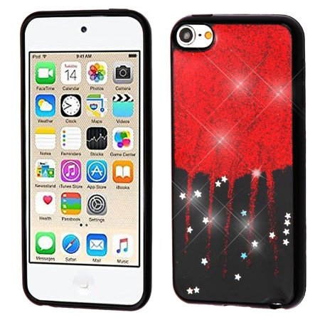 Insten Glitter Stars TPU Gel Case Cover For Apple iPod Touch 5th Gen/6th Gen, Red/Black (Halloween Games For 5th Grade Class)