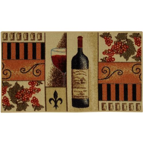 """French Wine Glass Non-skid Kitchen Mat Rubber Back Rug (18"""" x 30"""")"""